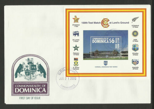 DOMINICA 2000 LORD'S CRICKET 100th CENTENARY TEST MATCH Souv Sheet FDC