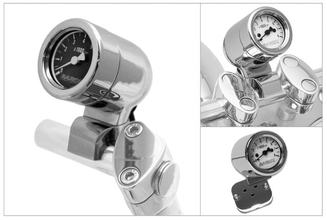 Baron Custom Mini-Bullet Tachometer Black Face
