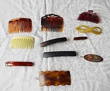 11 GOOD VINTAGE BAKERLITE LUCITE PLASTIC & 1 ENAMEL HAIR ACCESSORIES STYLISH