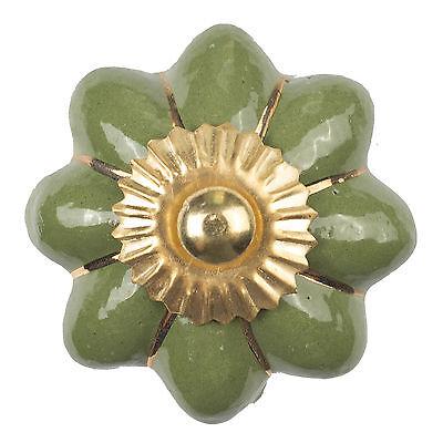 Möbelknopf Porzellan Möbelknauf für Schubladen Grün Keramik Vintage Shabby Chic
