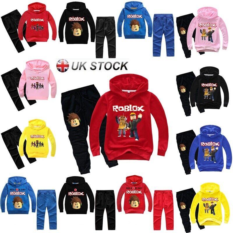 Roblox Red Hood Pants Kids Boys Girls Roblox Hoodie Sweatshirt Top Pants Set Cartoon Tracksuit Costume Ebay