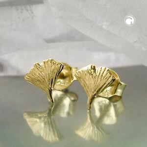 Ohrstecker-Ginkgo-Blatt-7-mm-glaenzend-9Kt-echt-GOLD-Gelbgold-375-neu