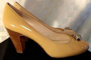 4c72470174 Coach Helaine Peep/Open Toe Patent Leather Heel 9B Pumps Beige Nude ...