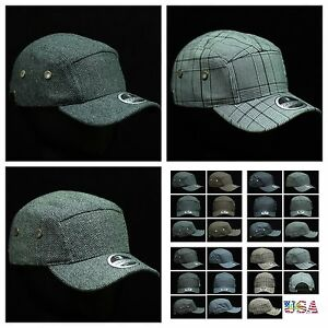 002aa228785 5 Panel Baseball Cap Plain Casual Caps Adjustable Fashion Hat Plaid ...