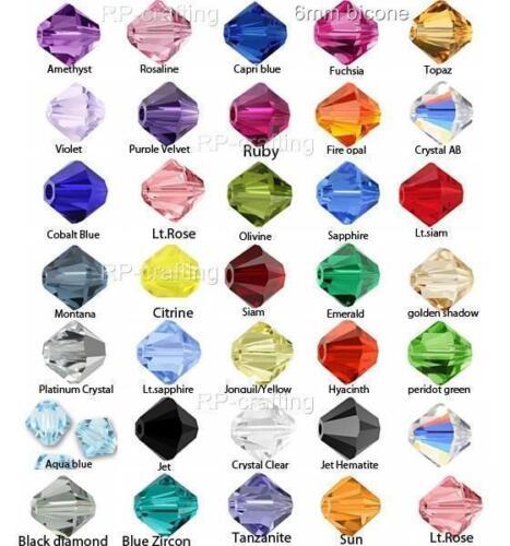 100 Véritable Preciosa Tchèque Cristal Bobine biconique perles 6 mm belle-U Choisir Couleur B#P63