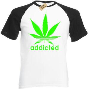 Addicted-T-Shirt-baseball-Weed-Cannabis-Marijuana-Dope