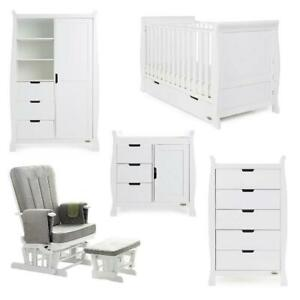 Obaby-Stamford-Classic-Sleigh-5-Piece-Room-Set-White-Suitable-From-Birth
