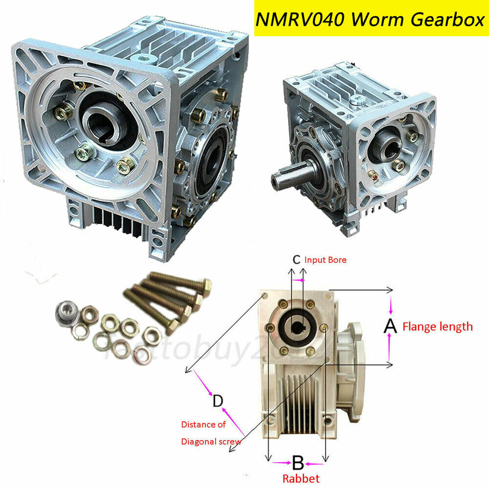 NMRV040 Worm Gearbox Geared Speed Reducer 14mm Input for 60/80/86/90 Motor 3