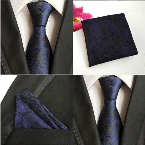 Men Paisley Floral Black Dark Blue Tie Pocket Square Handkerchief Set Lot HZ067