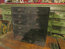 ancien petit meuble casiers a tiroirs 19e de metier horloger pin peint
