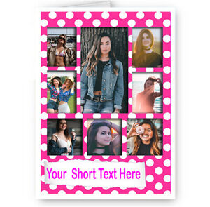 Sister Daughter BFF Birthday Good Luck Card Personalised Photo A5 Girly Pink