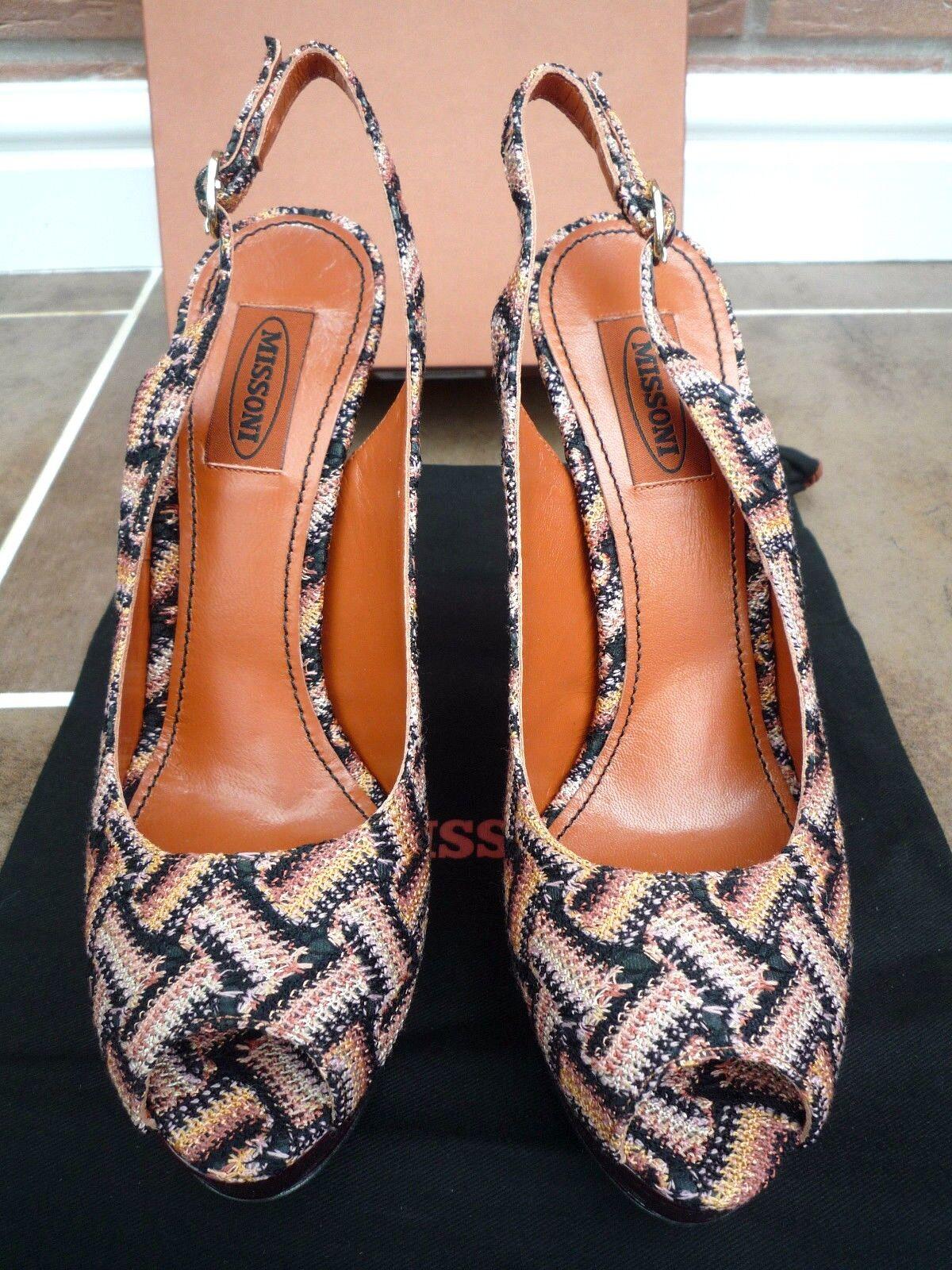MISSONI MISSONI MISSONI RASHEL CESTINO PEEP TOE STILETTO Schuhe RETAIL  SIZE 5 MADE IN ITALY aea2bc