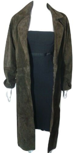 Savannah Suede Leather Coat Womens Size 1X Brown S