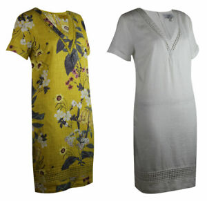 Womens-Linen-Blend-Vintage-Yellow-Floral-or-Ivory-White-V-Neck-Shift-Tunic-Dress