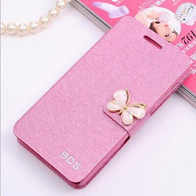 Butterfly Wallet Silk Leather Stand Flip case cover for Samsung Galaxy Phones
