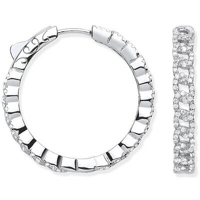 RHODIUM PLATED 925 HALLMARKED SILVER PAVE SET 59MM INSIDE-OUT RND HOOP EARRINGS