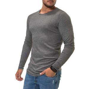 Jack-amp-Jones-Hommes-Chemise-manches-longues-O-Neck-Shirt-Chemise-Longue-Basic-herrentop-SALE