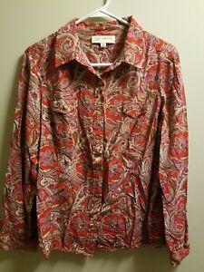 Jones-New-York-Red-Paisley-Long-Sleeve-Button-Down-Shirt-XL