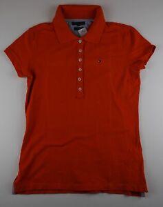 Tommy Hilfiger Damen Poloshirt Slim Fit Gr.S orange uni -S707