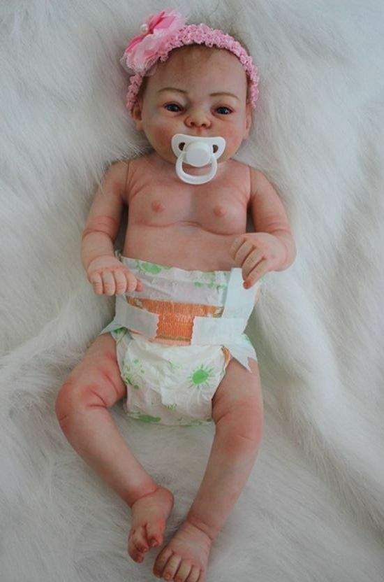 1Pc Lifelike 22'' Reborn Baby Girl Doll Full Body Silicone Vinylly Newborn Gifts