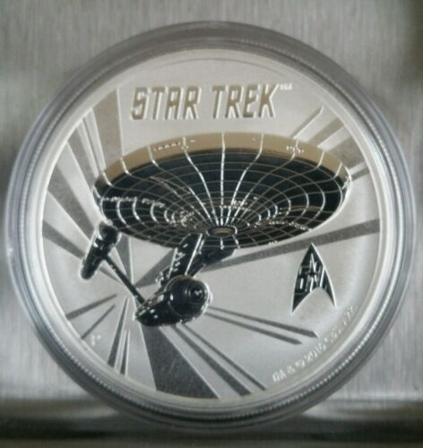 spock Star Trek Enterprise 1 oz .999 Silver Coin Tuvalu 1 dollar Captain kirk
