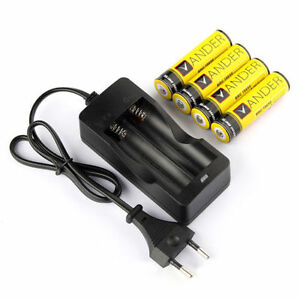 4x 18650 3 7v li ionen 6000mah akkus batterie eu digital ladeger t charger neu ebay. Black Bedroom Furniture Sets. Home Design Ideas