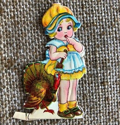 Antique Vintage 1900s German Embossed Girl,Turkey Thanksgiving Diecut Decoration