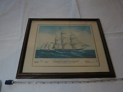 Clipper Ship contest framed photo FF Palmer Lithograph Lith N. Currier RARE