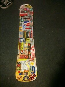 Vintage-90s-Private-Label-Snowboard-Covered-With-Stickers-150cm