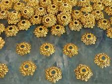 150 Antique Gold Metal Etched Flower Bead Caps 8mm