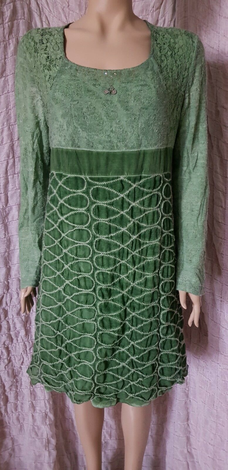 c851b882f44 Elisa Cavaletti washed green long sleeve woven details dress size XXL