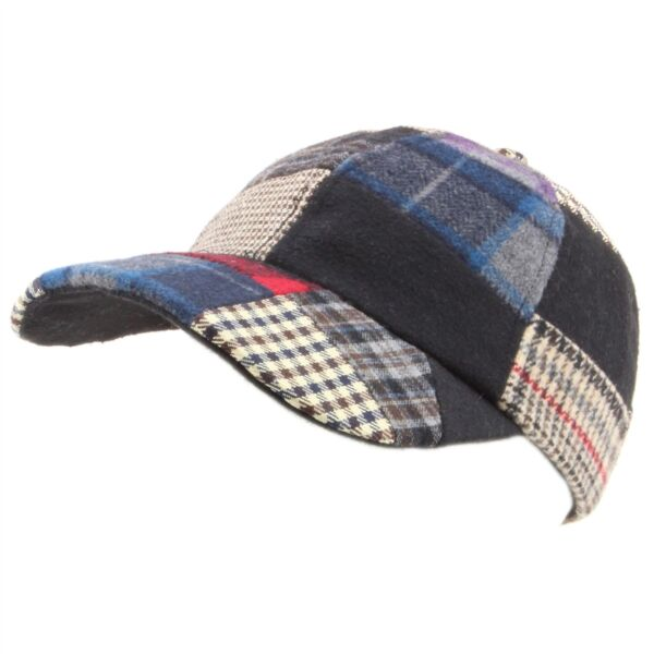 Cap Patchwork Tweed Baseball Hat Adjustable Strap New Warm 892ed0d27723