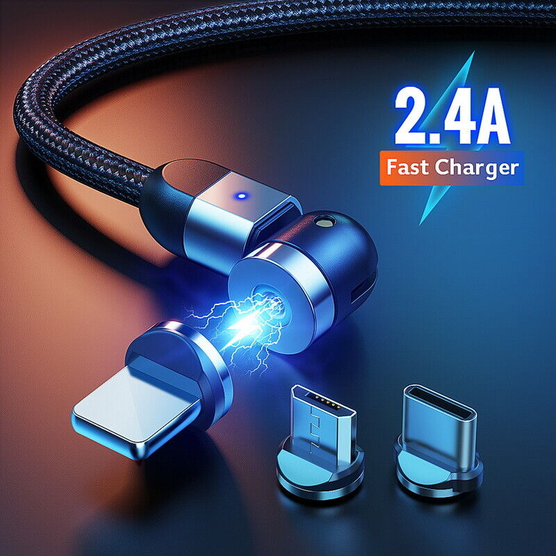 Type C and iProduct 540 Degree Magnetic Charging Cable Black 3 in 1 Nylon Braided Magnetic Cable Compatible with Micro USB 2-Pack, 3.3ft//6.6ft 360/°/&180/° Rotation Magnetic Phone Charger Cable