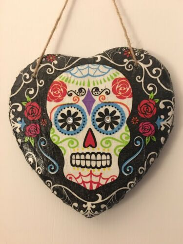 Slate Hanging Decoupaged Heart// Sugar Skull plaque// Hand Painted Hearts