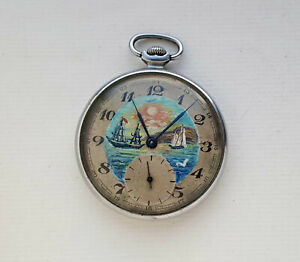 OIL Painting MOLNIJA. Vintage Soviet Russian mechanical pocket watch USSR