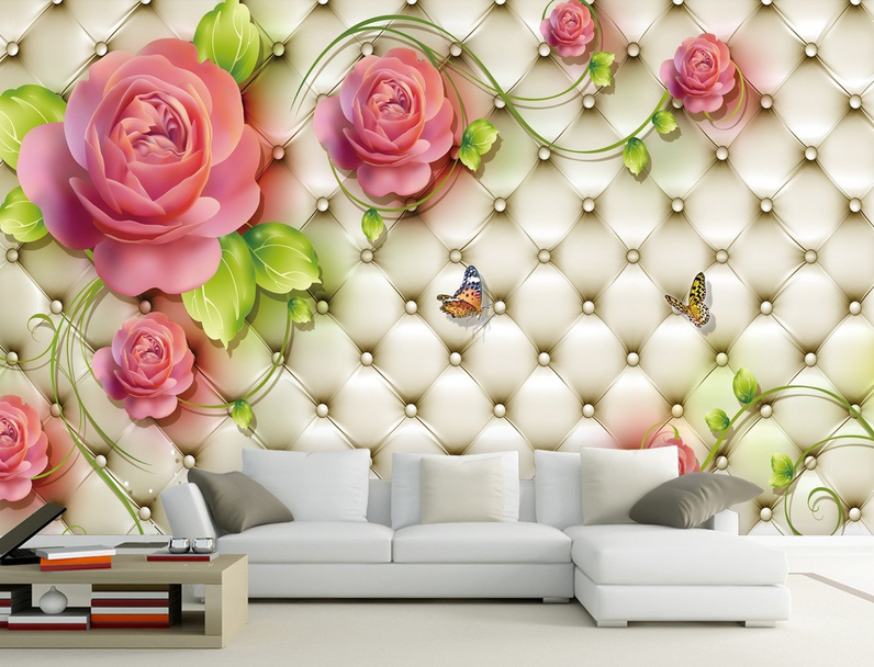 3D Flowers Butterfly Flying Wall Paper Wall Print Decal Wall AJ WALLPAPER CA