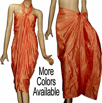 Hand Woven Art Silk Pareo Beach Scarf Sarong Wrap Cover-Up Solid Color Brand New