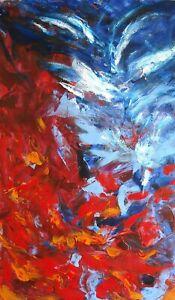 Peinture-abstraite-sur-papier-original-signe-HZEN-034-L-039-eau-amp-le-feu-034-27x44-cm