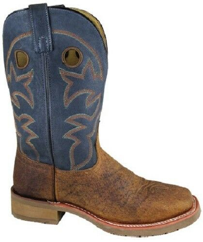Neuf Smoky Mountain bottes - Homme Cowboy Western - Cuir marron & Marine Carré