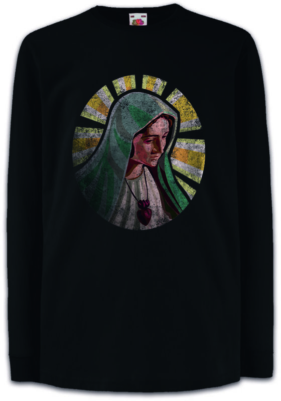 Holy Mary Kids Long Sleeve T-shirt Maria Mother Bloody Christ Jesus Religion Ave