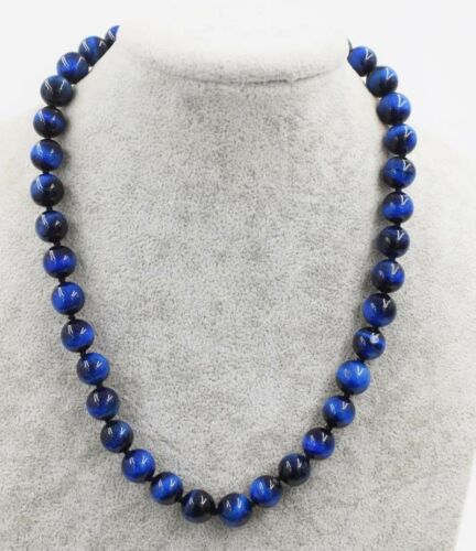 Natural 10mm Blue Tiger/'s Eye Gemstone Round Beads Necklace 18//25//36//54/' AAA