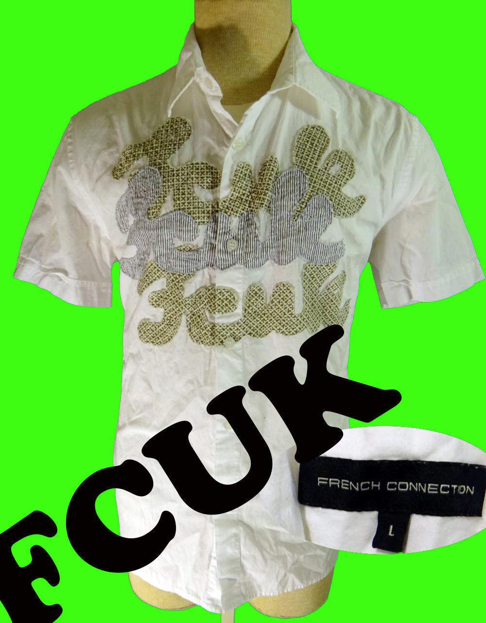 FCUK shirt french connection united kingdom white large l men short sleeve