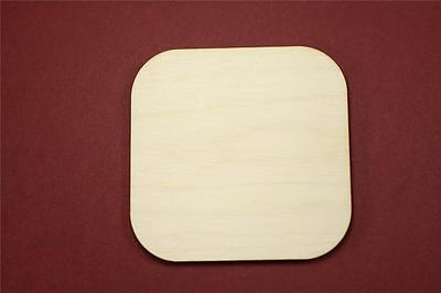 Round Edge Square Shape Unfinished Wood Laser Cut Shapes Crafts Variety of Sizes