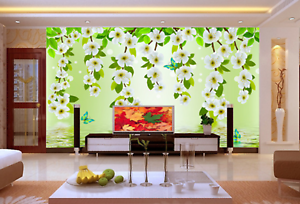 3D White Flower 558 Wallpaper Murals Wall Print Wallpaper Mural AJ WALL AU Kyra