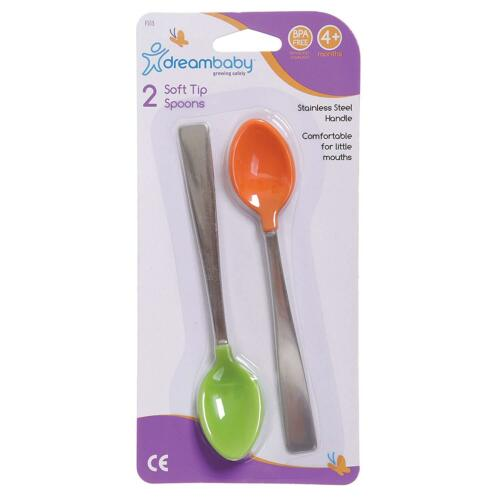 Pack of 2 Dreambaby Soft Tip Spoons with Metal Handle
