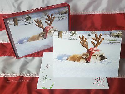 "/""Dashing Through the Snow!/"" AVANTI CHRISTMAS CARD Funny Bulldog Reindeer"