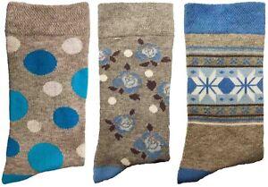 3 Pairs of Ladies JA30 Patterned Cotton Socks by Jennifer Anderton , UK Size 4-8