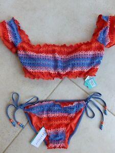 fe88ce56993 Seafolly Bikini AU 12 Havana Stripe Cold Shoulder Bandeau Top & Tie ...