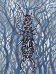 Decorative-earwig-insect-art-original-acrylic-painting-12x16-034