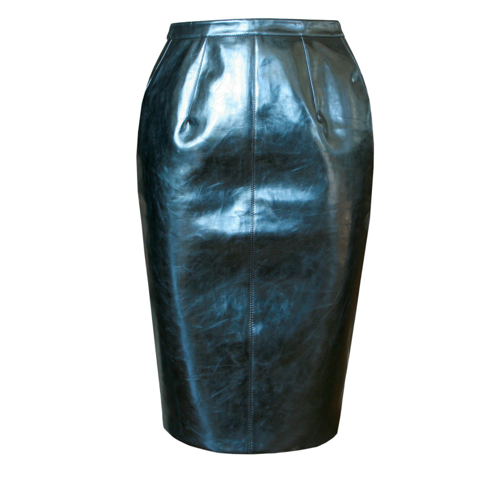 GARETH PUGH ,660 laminated shiny bluee structured simple pencil skirt 38 NEW